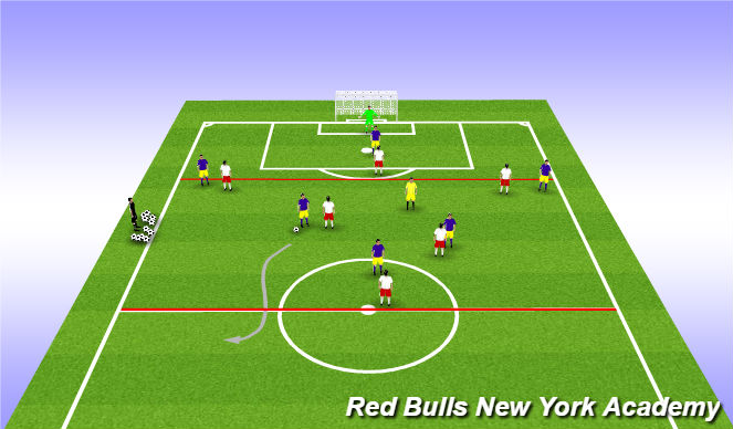 Football/Soccer Session Plan Drill (Colour): Expanded Game 6v6+1
