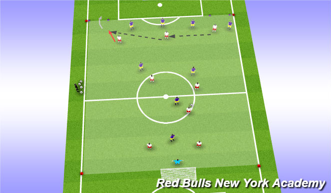 Football/Soccer Session Plan Drill (Colour): Expanded Game 9v8