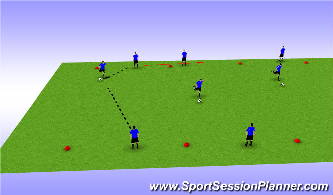 Football/Soccer Session Plan Drill (Colour): Switching play/Striking Technique
