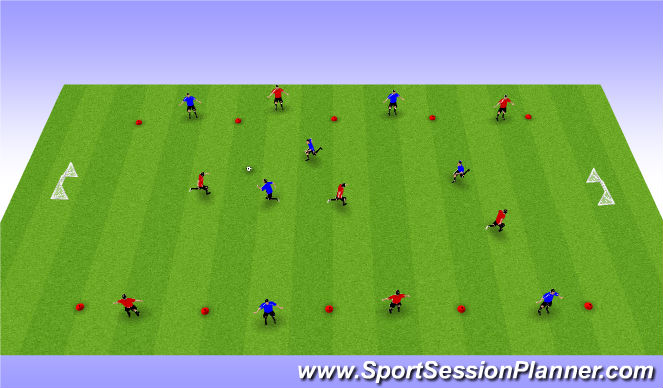 Football/Soccer Session Plan Drill (Colour): 7v7 to 4 Windows