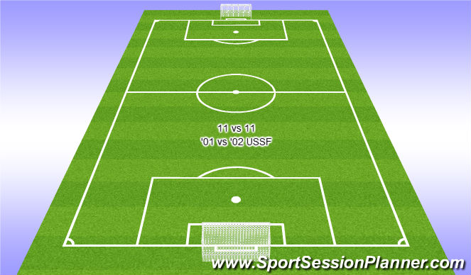 Football/Soccer Session Plan Drill (Colour): 11 vs 11 against '02 USSF