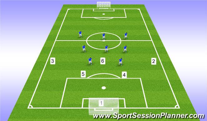 Football/Soccer Session Plan Drill (Colour): 8v5+GK defending in defensive half
