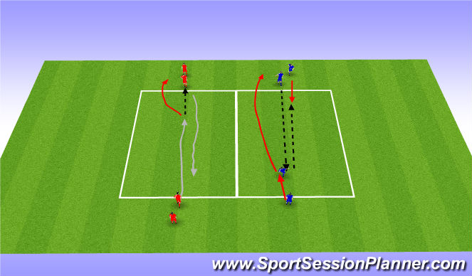 Football/Soccer Session Plan Drill (Colour): Continuous dribbling/passing warm up