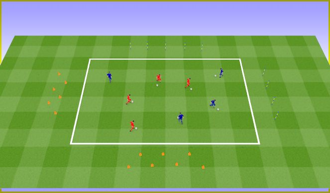Football/Soccer Session Plan Drill (Colour): Dribbling the ball and slaloms. Prowadzenie piłki i slalomy.
