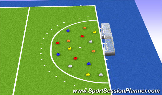 Hockey Session Plan Drill (Colour): Kleurenveld