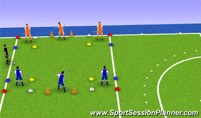Hockey Session Plan Drill (Colour): Kleurenspel