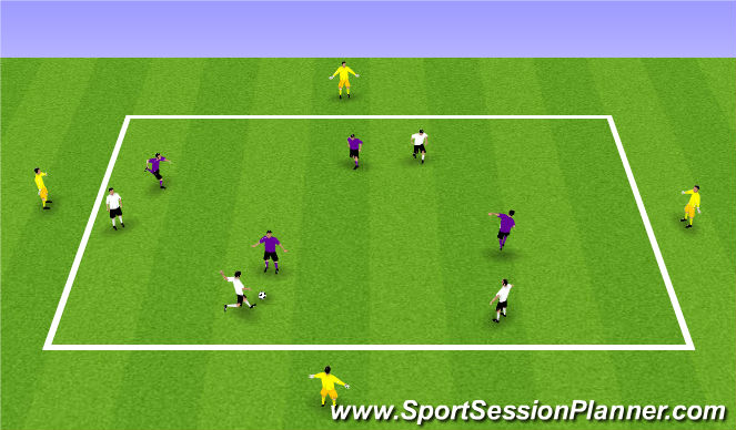 Football/Soccer Session Plan Drill (Colour): 4v4 + 4 waiting