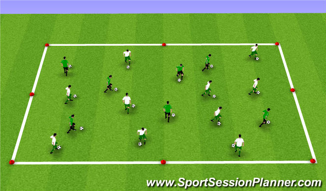 Football/Soccer Session Plan Drill (Colour): Warm-Up: Dribbling Box