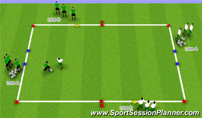 Football/Soccer Session Plan Drill (Colour): 2v2 Flying Changes (Defensive Principles)