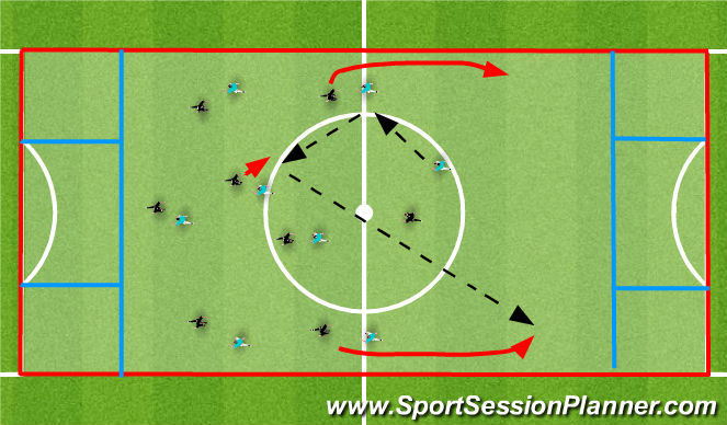 Football/Soccer Session Plan Drill (Colour): 8 v 8 endzone game