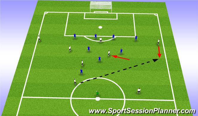 Football/Soccer Session Plan Drill (Colour): 8v8+1