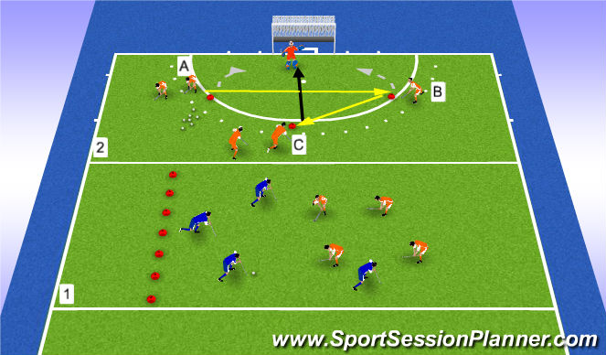 Hockey Session Plan Drill (Colour): set up