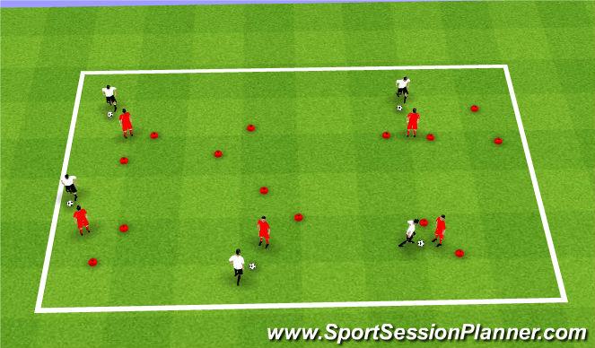 Football/Soccer Session Plan Drill (Colour): 1v1 w/Gates