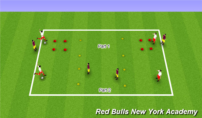 Football/Soccer Session Plan Drill (Colour): Warmup - Lofted Passing