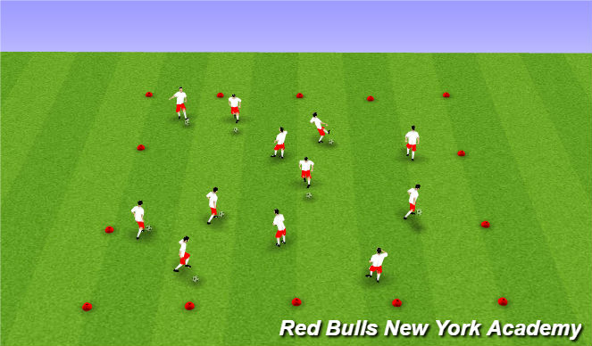 Football/Soccer Session Plan Drill (Colour): Warm Up - Ball Mastery