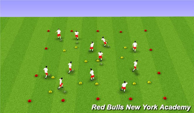 Football/Soccer Session Plan Drill (Colour): dribbling unopposed