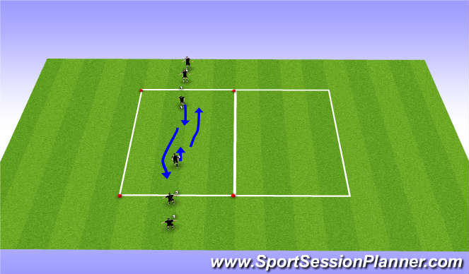 Football/Soccer Session Plan Drill (Colour): Dribbling warmup