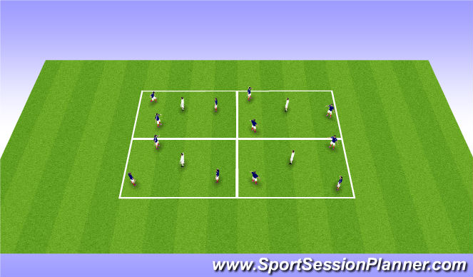 Football/Soccer Session Plan Drill (Colour): Warm Up - 3 v1 Keepball Boxes