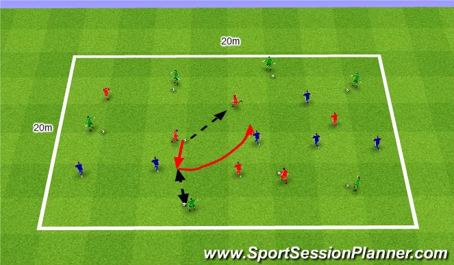 Football/Soccer Session Plan Drill (Colour): Passing and receiving three teams. Podania i przyjęcia w trzech Zespołach.