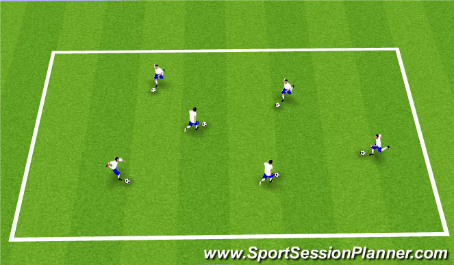 Football/Soccer Session Plan Drill (Colour): Technical Dribbling