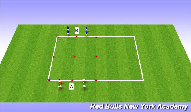 Football/Soccer Session Plan Drill (Colour): 1v1 semi opposed