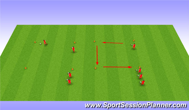 Football/Soccer Session Plan Drill (Colour): Twist off square
