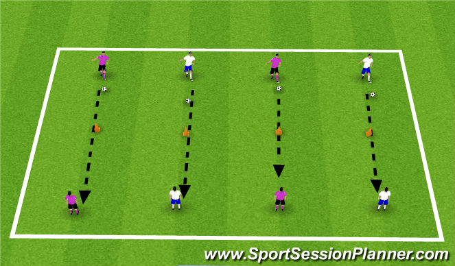 Football/Soccer Session Plan Drill (Colour): Technical passing work