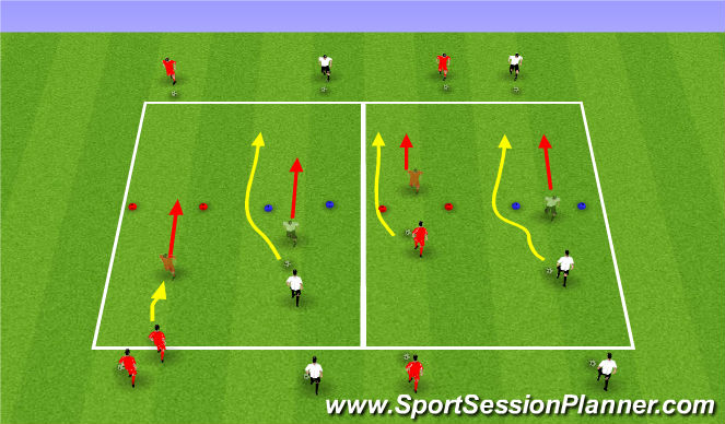 Football/Soccer Session Plan Drill (Colour): Driving In Behind