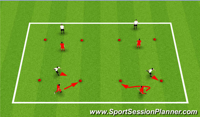 Football/Soccer Session Plan Drill (Colour): SAQ - Changing Direction