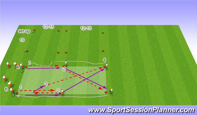 Football/Soccer Session Plan Drill (Colour): WARM-UP-PASSING PATTERN
