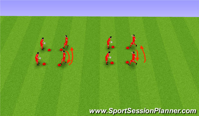 Football/Soccer Session Plan Drill (Colour): Four play - Partner competition