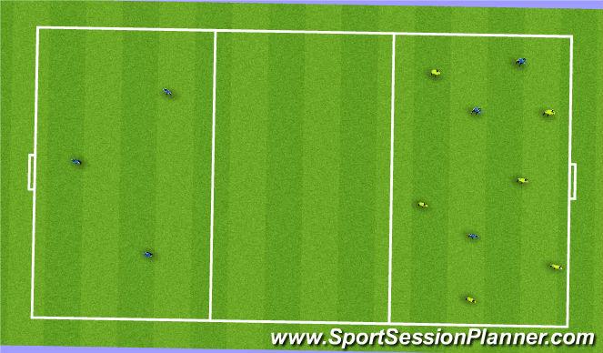 Football/Soccer Session Plan Drill (Colour): 6 v 3 - 6 v 3