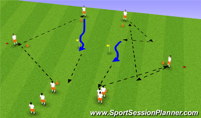 Football/Soccer Session Plan Drill (Colour): passing diamons 2