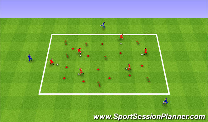 Football/Soccer Session Plan Drill (Colour): Kangaroos and Dingos. Kangury i psy dingo.