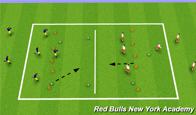 Football/Soccer Session Plan Drill (Colour): Warm Up -  In Foot Bowling