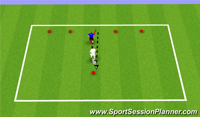 Football/Soccer Session Plan Drill (Colour): 1v1 Dribbing game
