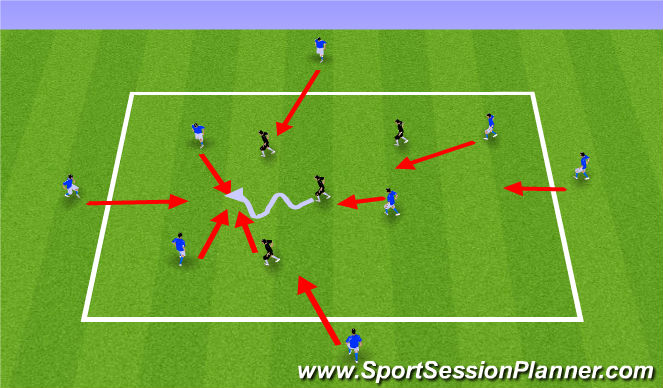 Football/Soccer Session Plan Drill (Colour): 4v4+4 Quick Reactions Dynamic Negative Transition Game