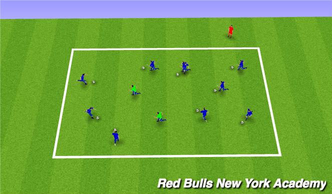 Football/Soccer Session Plan Drill (Colour): Main Theme #2- Technical (Semiopposed)