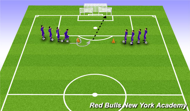 Football/Soccer Session Plan Drill (Colour): Shooting while Changing  Direction