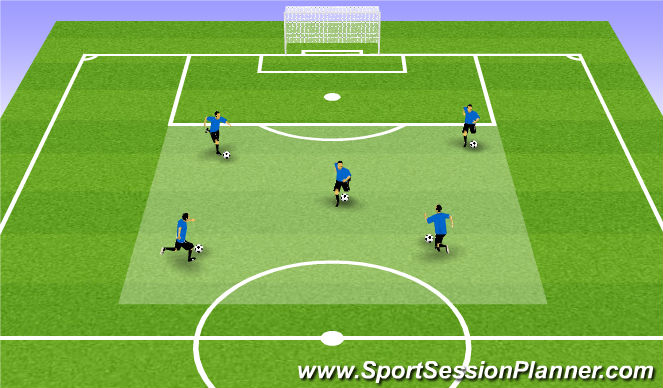 Football/Soccer Session Plan Drill (Colour): 1 - 1 warm up.