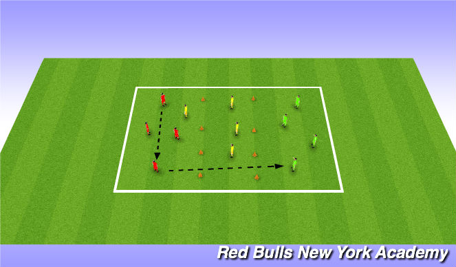 Football/Soccer Session Plan Drill (Colour): opposed passing and receiving