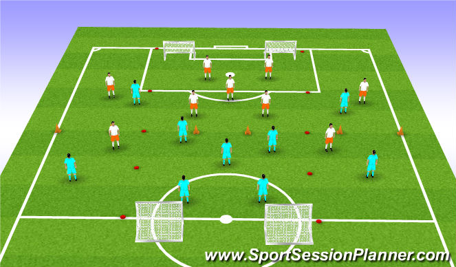 Football/Soccer Session Plan Drill (Colour): 9v9 in 3 Zones