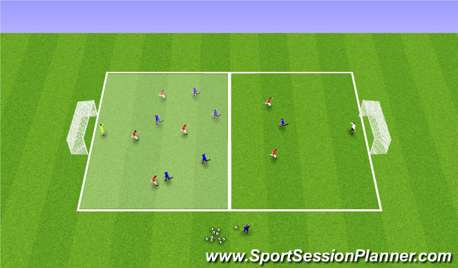 Football/Soccer Session Plan Drill (Colour): Press or Delay