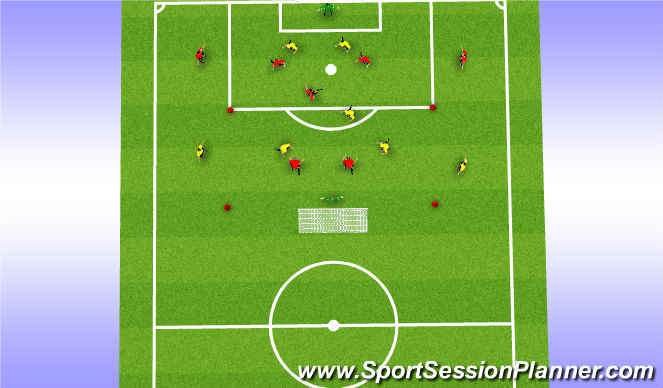 Football/Soccer Session Plan Drill (Colour): 2v3+2 v2v3+2