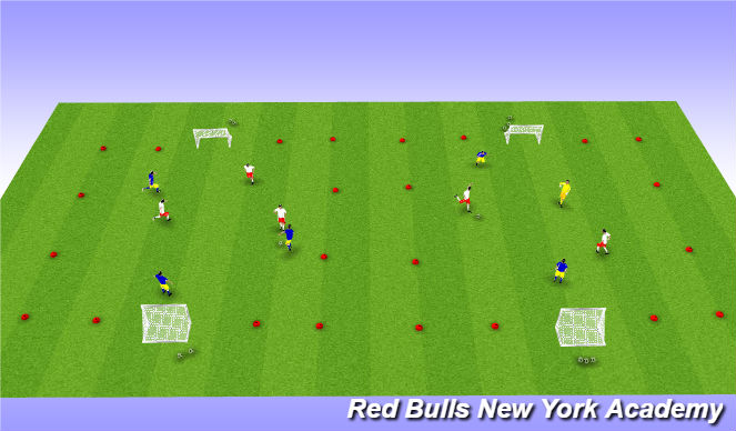 Football/Soccer Session Plan Drill (Colour): Tournament 3v3 or 2v2+1