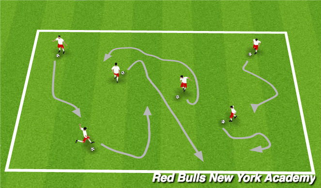 Football/Soccer Session Plan Drill (Colour): Dribbling Warm Up 2