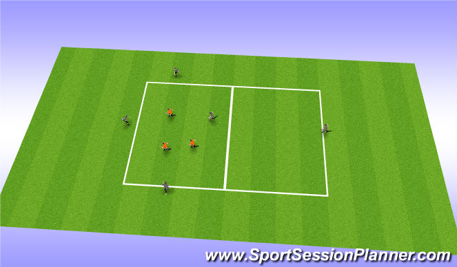 Football/Soccer Session Plan Drill (Colour): Introduction on switching play in a smaller area