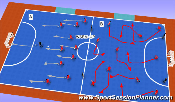 Futsal Session Plan Drill (Colour): WARM-UP (5MIN)