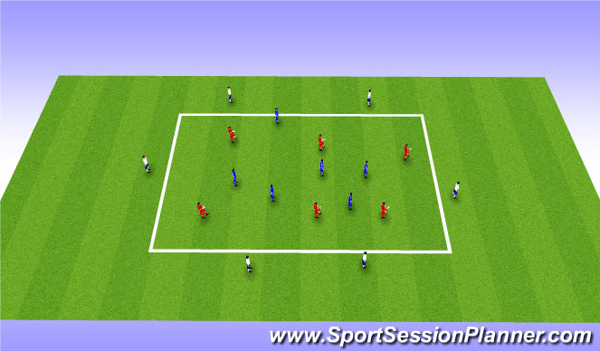 Football/Soccer Session Plan Drill (Colour): 6v6+6 rondo