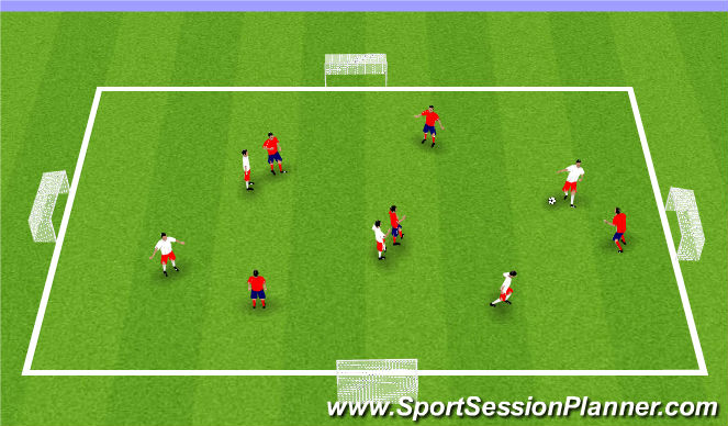 Football/Soccer Session Plan Drill (Colour): SSG to 4 Goals